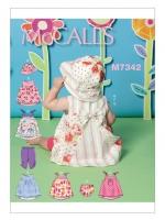 แพทเทิร์นตัดชุดกระโปรง กางเกงปลายขาย่น หมวก กางเกงในเด็ก Mccalls 7342 Size: NB-S-M-L-XL