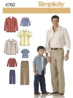 แพทเทิร์นตัดเสื้อเชิ้ต และกางเกง ชาย-เด็กชาย Simplicity (4760) ไซส์เด็กชาย S-M-L ไซส์ผู้ใหญ่ S-M-L-XL