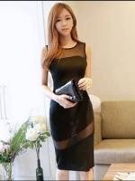 (สีดำ)ชุดเดรสแซกสั้นแฟชั่นเกาหลี สีดำ คอกลมตาข่ายซีทรู แขนกุด เข้ารูป ผ้าคอตตอน ซิปหลัง เซ็กซี่ ออกงานกลางคืน (ใหม่ พร้อมส่ง) ร้าน Ladyshop4u