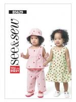 แพทเทิร์นตัดเสื้อ กางเกง ชุดเดรส หมวกเด็กหญิง มีแพทเทิร์นกางเกงใน ในแพก Butterick 5629 Size: NB-S-M-L