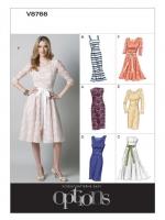 แพทเทิร์นตัดเดรสสตรี มิกซ์แอนด์แมช Vogue 8766D5 ไซส์ใหญ่ Size: 12-14-16-18-20 อก 34 -42 นิ้ว