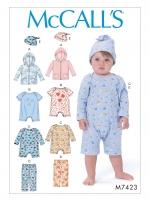 แพทเทิร์นตัดชุดหมี บอดี้สูทเด็ก หมวก เสื้อกันหนาว Mccalls 7423 Size: NB-S-M-L-XL