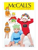 แพทเทิร์นตัดชุดบอดี้สูท พร้อมหมวก Mccalls 7672 Size: NB-S-M-L-XL หมวกไซส์ 42-48 ซม.