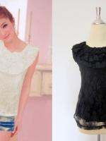 เสื้อทำงานแฟชั่นนำเ้ข้าเกาหลี ผ้าลูกไม้ สีดำ แขนกุด ปกเสื้อเป็นผ้าลูกไม้ 2ชั้น ซับในสีดำ (ใหม่ พร้อมส่ง) ร้าน LadyShop4u