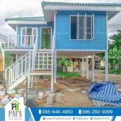 บ้านโมบาย ขนาด 6*7 เมตร (2ห้องนอน 2ห้องน้ำ 1ห้องรับเเขก)