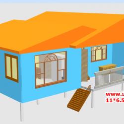 CD01 บ้านตัวอย่าง 11*6.5 เมตร 4 ห้องนอน 3 ห้องน้ำ 1 ห้องนั่งเล่น 1 ห้องครัว 792,000 บาท เพิ่มระเบียงหลังคาคลุม 2*4 ราคา 68,000 รวม 860,000 บาท