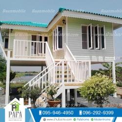 บ้านโมบาย ขนาด 6*7 เมตร ระเบียง 3*3 เมตร ยกสูง 2 เมตร (2ห้องนอน 2ห้องน้ำ 1ห้องรับเเขก)