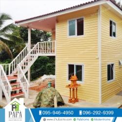 บ้านน็อคดาวน์ขนาด 7*6 เมตร (4ห้องนอน 2ห้องน้ำ 1ห้องรับเเขก 1ห้องครัว)