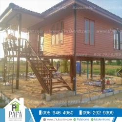 บ้านโมบาย ขนาด 8*6 เมตร ยกสูง 1.8 เมตร (1ห้องนอน 1ห้องน้ำ 1ห้องนั่งเล่น)