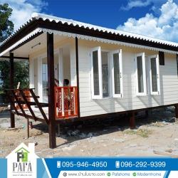 บ้านขนาด 3*5.5 ระเบียงหลังคาคลุม 1*3 เมตร (1 ห้องนอน 1 ห้องน้ำ)