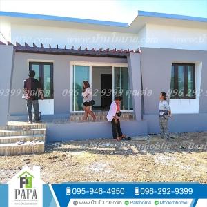 บ้านโมเดิร์นขนาด 8*7.5 ระเบียง 1.5*5 เมตร (3ห้องนอน 2ห้องน้ำ 1ห้องนั่งเล่น 1ห้องครัว)