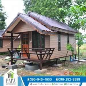 บ้านน็อคดาวน์ : บ้านโมบาย ทรงจั่ว ขนาด 3*6 เมตร ระเบียง 1*3 เมตร (1 ห้องนอน 1 ห้องน้ำ)