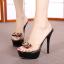 รองเท้าส้นสูงแบบสวมสีดำ/ชมพู ไซต์ 34-39 thumbnail 2