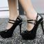 รองเท้าส้นสูงคัดชูหนังแก้วสีดำ/แดง/ครีม ไซต์ 34-43 thumbnail 4