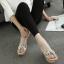รองเท้าส้นเตารีดลายไม้สีครีม/ดำ ไซต์ 34-39 thumbnail 6
