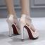 รองเท้าส้นสูงสายคาดแต่งคริสตัลเม็ดเล็กสวยหรู สีครีม/ดำ ไซต์ 35-39 thumbnail 3