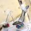 รองเท้าส้นแก้วใสแต่งดอกไม้ผ้าด้านในส้นพื้นสีดำ/ขาว ไซต์ 34-39 thumbnail 6