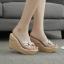 รองเท้าส้นเตารีดลายไม้สีครีม/ดำ ไซต์ 34-39 thumbnail 2