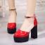 รองเท้าส้นสูงส้นหนาสีแดง/ดำ/ครีม ไซต์ 34-39 thumbnail 3