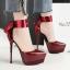 รองเท้าส้นสูงเก็บทรงผ้ารัดข้อผูกสีแดง/ดำ/เงิน/น้ำเงิน ไซต์ 34-39 thumbnail 11