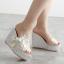 รองเท้าส้นเตารีดส้นติดกากเพชรแน่นๆสีเงิน/ทอง/ขาว/ชมพู ไซต์ 34-39 thumbnail 10