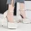 รองเท้าส้นสูงเกร็ดเพชรแน่นสีดำ/ขาว/เงิน/ทอง/แชมเปน ไซต์ 34-39 thumbnail 6