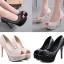 รองเท้าส้นสูงคัดชูผ้าลูกไม้ติดเพชรสีชมพู/ดำ ไซต์ 34-39 thumbnail 1