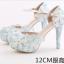 รองเท้าเจ้าสาว ไซต์ 34-39 สีฟ้า สูง 3.6 / 4.8 / 5.6 นิ้ว thumbnail 8