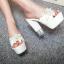 รองเท้าส้นสูงแบบสวมส้นหนาแต่งดอกไม้หรูๆสีดำ/ชมพูอ่อน/ชมพูเข้ม/ขาว/เงิน ไซต์ 34-43 thumbnail 5