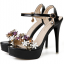 รองเท้าส้นสูงแต่งดอกไม้สีชมพู/ดำ/ขาว ไซต์ 34-39 thumbnail 10