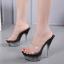 รองเท้าส้นแก้วใสเล่นระดับสีด้านในส้นแต่งเกร็ดเพชรสีแดง/ดำ/ขาว ไซต์ 34-40 thumbnail 3