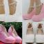รองเท้าเจ้าสาวส้นเตารีดสีขาวมุข/ชมพู ไซต์ 34-42 thumbnail 1