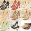 รองเท้าส้นสูงปลายแหลมผ้าลุกไม้เก็บทรงสวยเป๊ะสีดำ/ขาว/ครีม/ชมพู/ม่วง/แดง ไซต์ 34-40 thumbnail 1