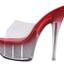 รองเท้าส้นแก้วใสเล่นระดับสีด้านในส้นแต่งเกร็ดเพชรสีแดง/ดำ/ขาว ไซต์ 34-40 thumbnail 9