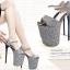 รองเท้าส้นสูง 7.6 นิ้ว สีน้ำเงิน/เทา ไซต์ 34-43 thumbnail 2