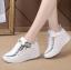 รองเท้าผ้าใบเสริมส้นสีขาว/ดำ ไซต์ 35-39 thumbnail 2