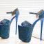 รองเท้าส้นสูง 7.6 นิ้ว สีน้ำเงิน/เทา ไซต์ 34-43 thumbnail 6