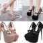 รองเท้าส้นสูงหัวมนสีชมพู/ดำ ไซต์ 34-40 thumbnail 1