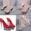 รองเท้าส้นแก้วใสเล่นระดับสีด้านในส้นแต่งเกร็ดเพชรสีแดง/ดำ/ขาว ไซต์ 34-40 thumbnail 1