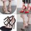 รองเท้าส้นสูงผ้าลินินเรียบแต่หรูสีดำ/แดง/ชมพูนู๊ด ไซต์ 35-40 thumbnail 1