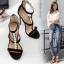รองเท้าส้นสูงสายถักเปียสีดำ/แอพพริคอท ไซต์ 35-40 thumbnail 4
