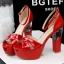 รองเท้าส้นสูง ไซต์ 34-39 สีดำ สีแดง สีขาว สีเนื้อ สีเทา สีเงิน thumbnail 2