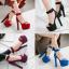 รองเท้าส้นสูงผ้าไหมเทียมสวยหรูสีม่วง/ฟ้า/แดง/ดำ ไซต์ 34-43 thumbnail 1