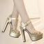 รองเท้าส้นสูงแต่งผ้าลูกไม้สวยสีเงิน/ทอง ไซต์ 34-39 thumbnail 7