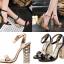รองเท้าส้นสูงส้นหนาสีดำ/ทอง ไซต์ 34-40 thumbnail 1