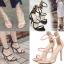 รองเท้าส้นสูงสีชมพู/ดำ ไซต์ 34-39 thumbnail 1