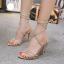 รองเท้าส้นสูงสายคาดติดคริสตัลสีน้ำตาล/ดำ ไซต์ 35-40 thumbnail 4