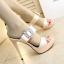 รองเท้าส้นสูงแบบสวยหรูสีดำ/ครีม ไซต์ 34-38 thumbnail 5