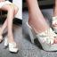 รองเท้าส้นสูงแบบสวมส้นหนาแต่งดอกไม้หรูๆสีดำ/ชมพูอ่อน/ชมพูเข้ม/ขาว/เงิน ไซต์ 34-43 thumbnail 10