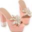 รองเท้าส้นสูงแบบสวมส้นหนาแต่งดอกไม้หรูๆสีดำ/ชมพูอ่อน/ชมพูเข้ม/ขาว/เงิน ไซต์ 34-43 thumbnail 9